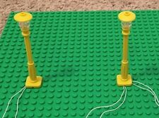 New 2 yellow Lamp Post led street light for lego usb connected 2 posts