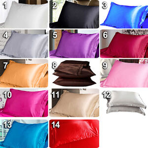 2pcs Silk Satin Soft Pillow Cases Cover Queen DIY Bed Cushion Cover Pillowcase