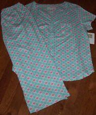 NWT Karen Neuburger SPEARMINT Green/Pink GEO Knit Pajamas CAPRI Pants/Top Set S