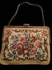 ANTIQUE VICTORIAN 1900s Era Needle Point  Embroidered Tapestry Purse Handbag