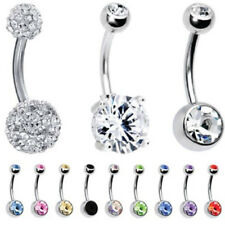 12 Pieces Set Double Gem Belly Button Ring Piercing Jewelry Navel Belly Ring New
