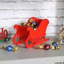 rouge en bois traîneau Décoration de noël shabby vintage chic sucreries stockage