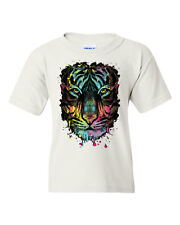 Neon Dripping Tiger Face Youth T-Shirt Wildlife Rave Music Tee