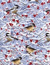 Chickadees/Berries/Twigs QUILT FABRIC by Timeless Treasures BIRDS #C2242 on blue
