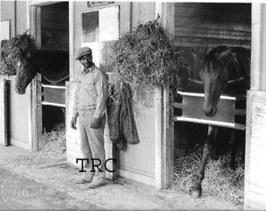 SECRETARIAT & RIVA RIDGE - ORIGINAL 1973 HORSE RACING PHOTO IN BARN!