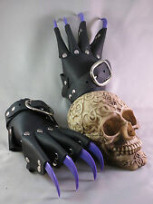 Black Leather Purple Claw Gauntlets Gothic Gloves