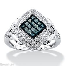 WOMENS PLATNIUM STERLING SILVER BLUE AND WHITE DIAMOND MARQUISE RING 6 7 8 9 10