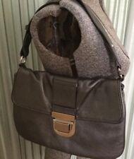 Audrey Brooke Metallic Gray Leather Shoulder Bag