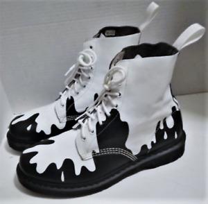 Dr Martens Rare PASCAL White Paint Spill Black Leather Boots 11M EU45 UK 10 GUC