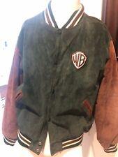WARNER BROS Studio Store Leather Suede Jacket Baseball Coat Green Brown Men's M
