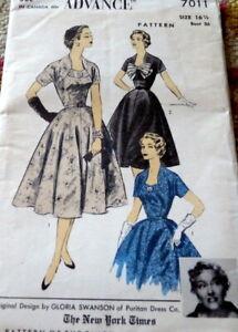 LOVELY VTG 1950s DRESS DESIGNER GLORIA SWANSON ADVANCE Sewing Pattern BUST 36
