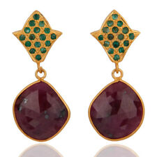 Natural Ruby and Emerald Gemstone 925 Silver Dangle Earrings Wedding Jewelry