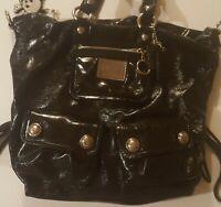 Coach Poppy Purse Women's Large Black Handbag Shoulder Tote Bag w/ Many Pockets