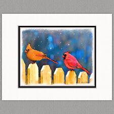 Cardinals on the Fence Wild Bird Original Art Print 8x10 Matted to 11x14