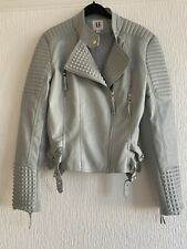 GREY QUILTED BIKER JACKET 12 SMART SUMMER PARTY GLAM WINTER PARTY CUTE BOHO FUN