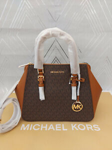 Michael Kors Ladies Charlotte Large Logo Satchel Bag Brown BNWT Brown