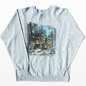 Vintage 90's Holoubek Wolf Graphic Print Retro Sweatshirt Size XL Jumper, USA