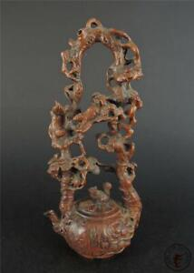 Old Chinese Boxwood Carved Statue frog & lotus ~ auspicious