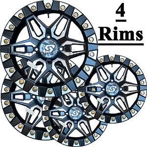 4) ATV RIMs WHEELs 14x7 4/115 5+2 SEDONA SPLIT 6 True Beadlock some Arctic Cat