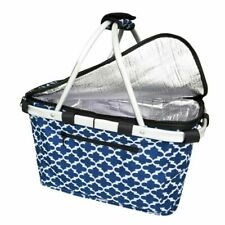 Sachi Shop & Go Insulated Carry Basket w/ Lid Thermal Cooler Outdoor Travel