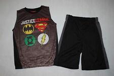 Boys Justice League Outfit Sleeveless Shirt & Shorts Black Gray Mesh Net Size 7