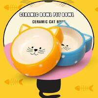 Cat Face Design Pets Dog Cat Kitten Ceramic Feeding Bowls Water Feeder Food J6W8