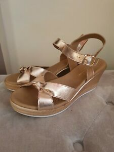 New Next Size UK 8 EU 42 Wide Fit Rose Gold Leather Wedge Sandals RRP £40