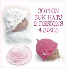 BABY GIRL / REBORN SUN HATS, COTTON DK  KNITTING PATTERN, 2 DESIGNS IN 4 SIZES