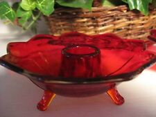 Fenton Glass Ruby Amberina Flowerform Lotus Petal Footed Candle Holder