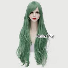 Lolita Mint Green 80CM Wavy Long Hair Lady Anime Party Cosplay Wig + Wig Cap