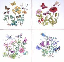"""Butterfly Ceramic Tiles Dragonfly Bees Flower Kiln Fired Back Splash Decor 4.25"""""""
