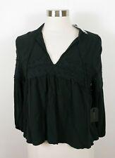 NEW Forever 21 Womens Sheer Rayon 3/4 Sleeve V Neck Black Bohemian Blouse Medium
