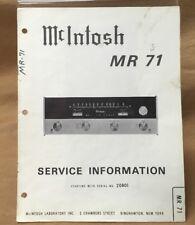 Genuine McIntosh MR 71 FM Tuner Service Manual