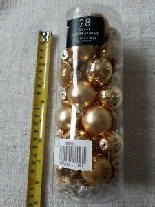 JOHN LEWIS 27 Christmas Baubles Decorations Gold Glass