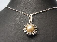 925er Silberkette m Perlen anhänger KL39 cm Anhänger durchmes 1,4 cm Ge 4,15 Gr