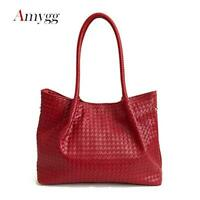 Woven Knitted Purse Women Leather Tote bag Large Casual Shoulder Bags Gold