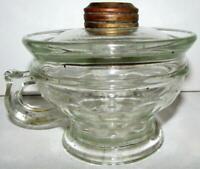 Antique LOMAX Spill Guard Kerosene or Oil Hand Lamp 1870 Clear Glass 14 Panels