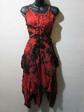 Dress Fits XL 1X 2X Plus Red Black Corset Lace Up Waist Layered Hem NWT G209
