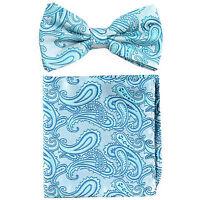 New formal Men's micro fiber Pre-tied Bow Tie & Hankie turquoise Blue paisley