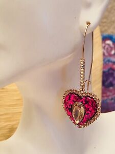 Betsey Johnson Glamorous Earrings Rose Gold Crystal Dangle heart tassel