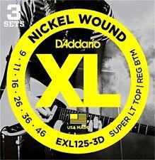 D'Addario Electric Guitar Strings, Super Light Top/Regular Bottom, 9-42, 3 Sets