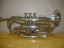 BEST-PRICE-DEAL NEW SILVER(NICKEL PLATED) Bb ECHO CORNET+FREE HARD CASE+M/P