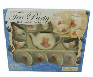 VTG LITTLE BEAR 13-pc Real Porcelain Pretend Play Tea Set NEW