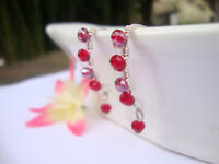 RED Crystal Silver Marquise Dangle Earrings Artisan Wire USA HANDMADE