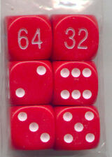 NEW Dice Set of 6 D6 (16mm) - Backgammon Opaque Red