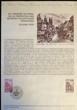 FRANCE MUSEE POSTAL FDC 13-74   CONGRES PHILATELIQUE    0,50F   COLMAR    1974