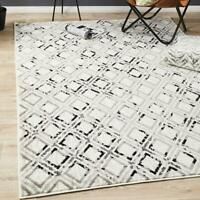 Stadia Geometric Design Ivory Black Modern Floor Rug - 4 Sizes **FREE DELIVERY**