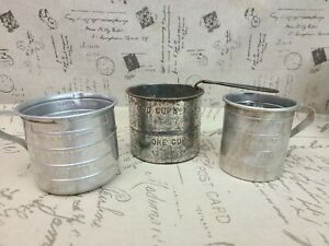 Vintage Lot of 2 Third Measuring Cups and a Primitive Flour Sifter Farmhouse