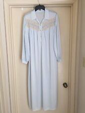 """Vintage SAN SOUCI Nylon Long Blue Nightgown Lace LS 26""""x52"""" Size 42 EUC"""