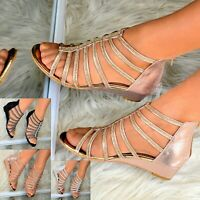 Ladies Womens Low wedge Heel Sandals Gladiator Flats Shoes Diamante Strappy size